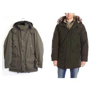 London Fog hooded parka military green khaki men's